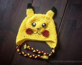 Pikachu hat, pikachu inspired beanie, pikachu halloween costume, pikachu costume, pikachu photo props, photo props for boys, boy hats
