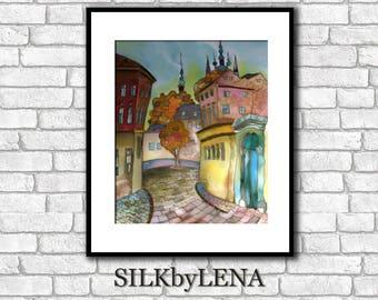 City art  Fine Art Print Prague painting Europe Painting  Giclee art Print wall art print silk painting city scape  print modern fine art