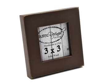 """3x3 1"""" Gallery Picture Frame - Chocolate- Instagram, Home Decor, Wedding Favors, Wall Decor, Solid Wood, Handmade, Free Shipping"""