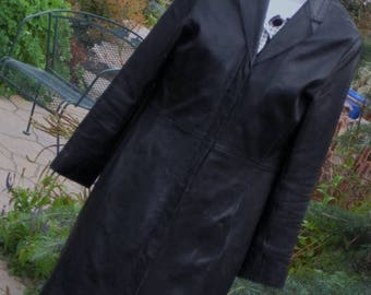 June Savings Leather Coat~ Vintage Full Lenght Black Leather Coat Halogen Med Soft buttery Leather