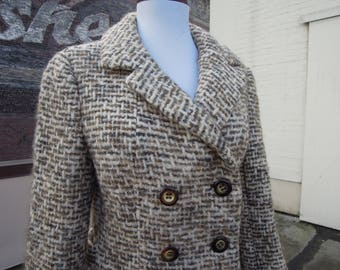 Vtg Super Chunky Wood Tweed I.MAGNIN Sweater Blazer Jacket Double Breasted Oatmeal Tweed Speckle 50's 60's S XS