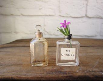 Set of Two Tiny Perfume Bottles Vintage Chanel No.5 Glass Perfume Bottle