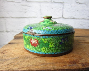 Vintage Cloisonne Covered Dish Chinese Enamel - Cloisonne