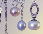 For M ~ One, Grey Pearl and Sterling Silver Earring