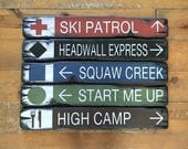 Custom Ski Resort Trail Signs, 5 Handcrafted Rustic Wood Signs, Mountain Decor for Home and Cabin, 4095