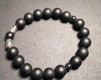 Men's Black Matte & Hematite Bracelet