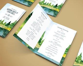 rustic program template, rustic program printable, printable wedding ceremony programs, rustic wedding programs template download