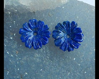 New,Carved Lapis Lazuli Flower Cabochon Pair,18x4mm,3.2g