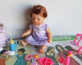 Original Vintage nineties Zapf baby born mini world baby toddler long hair dress and accessories trunk dollhouse miniature nursery toys