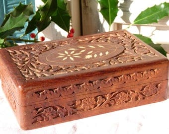Vintage Carved Flower Wooden Box - Etched Flower Top - Tan Brown - Indigo Hinged Lid - Wooden Trinket Box - Jewelry Box - Gift Ideas