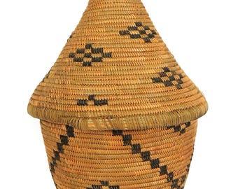 Tutsi Basket Lidded Tight Weave Rwanda African Art 93272