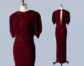 RESERVED 1930s Dress / 30s Burgundy Silk Velvet Evening Gown / OPEN BACK / Gorgeous