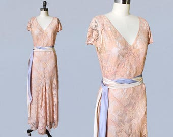 1930s Dress / 30s Peachy Pink Lace Gown / Wedding / Bridesmaid