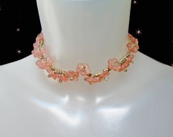 Flower Choker is a Pink Choker Necklace with Vintage Glass Flower Beads, a OOAK Design, Thin Necklace Choker with Pink Flowers
