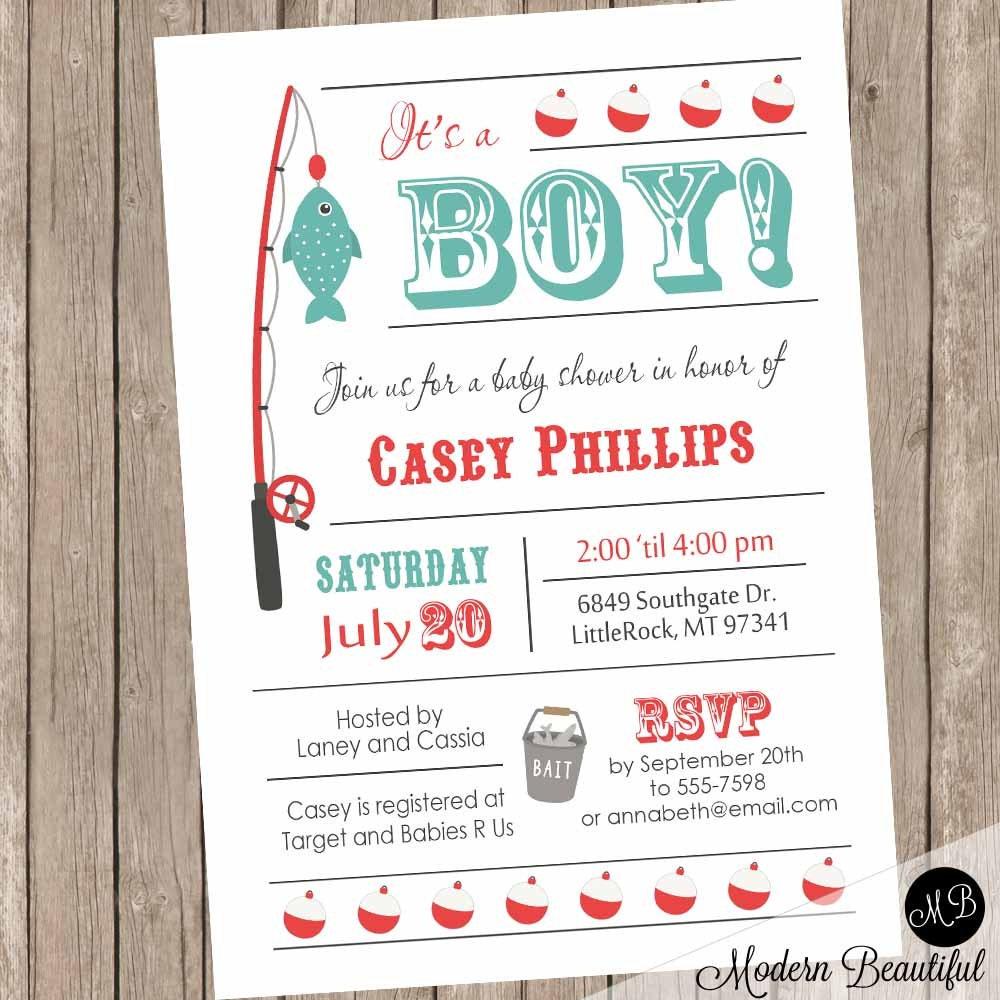 Good Details. Baby Boy Fishing Baby Shower Invitation