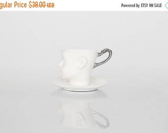 SALE Whimsical doll head cup - white porcelain and silver artisan cupwith saucer, whimsical ceramic design