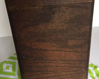 Antique oak library card  file Recipe Box Original Finish