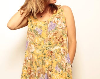 90s maxi GRUNGE yellow & lavender FLORAL long dress with POCKETS
