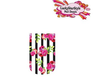 Waterslide Full Nail Decals Set of 10 - Black Stripes with Pink Roses Full