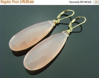 Extra Large Pink Chalcedony 14 K Gold Filled Leverback Earrings