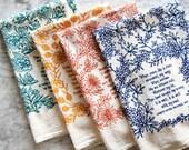 4 Hymn Tea Towels christian wall art teacher gift ideas mothers day gift floursack kitchen towels botanical print art print
