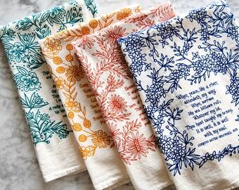 PREORDER 4 Hymn Tea Towels christian wall art teacher gift ideas mothers day gift floursack kitchen towels botanical print art print