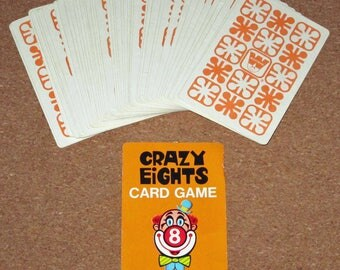 Vintage CRAZY EIGHTS Card Deck Playing Cards by Whitman