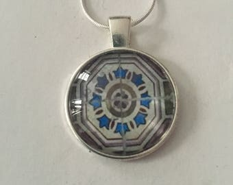 Portuguese tile necklace, silver and blue, azulejo, cabochon necklace