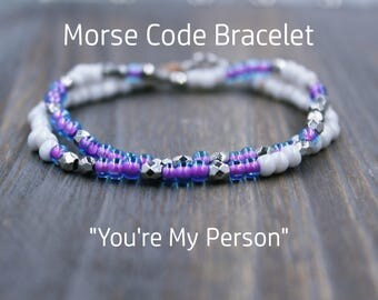 Best Friend Bracelet Morse Code, BFF Bracelet, Youre My Person Gift for Best Friend, Christina and Meredith, Matching Best Friend Bracelet