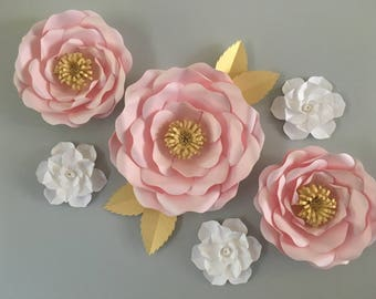 Large paper flower backdrop - full bloom rose and gardenia / nursery paper flower wall decor/ nursery decor/ wedding flower backdrop /