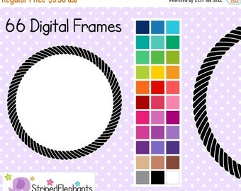 40% OFF SALE Rope Clip Art Digital Frames Circle - Instant Download - Commercial Use