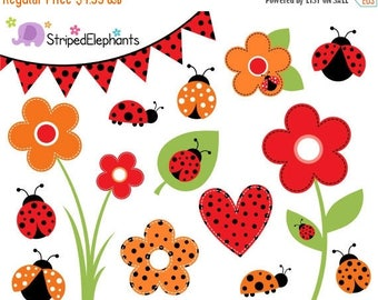 40% OFF SALE Lady Bug Clip Art - Lady Beetle Clipart - Bug Clipart - Insect Clip Art - Instant Download - Commercial Use