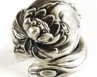 Lotus Flower Ring, Pond Lily, Sterling Silver Spoon Ring, Water Lily, Swirl Pond Lilly, Upcycled Repurposed, Adjustable Ring, Nature (816)