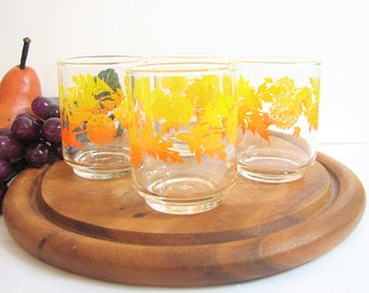"Whiskey Glasses, Rocks Glasses, Libbey DANDELIONS Retro Cocktail Glassware, Set of 4, Yellow Orange Ombre 3"" 7oz Tumblers, Vintage Barware"