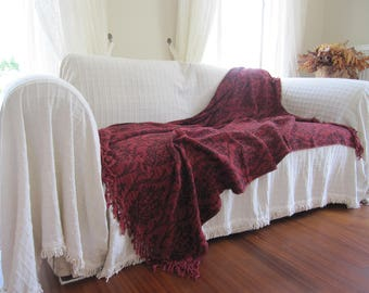 Twin XL dorm bedding Summer blanket shawl burgundy damask  - Sofa bed throw - couch coverlet - Woven - blanket bed scarf Nurdanceyiz Turkey