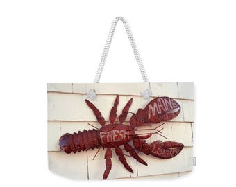 Weekender Tote Bag, Patrushka Maine Tote Bag, Fresh Maine Lobster Sign Boothbay Harbor,Overnight Bag, Gym Bag! Canvas Tote,FREE SHIPPING USA