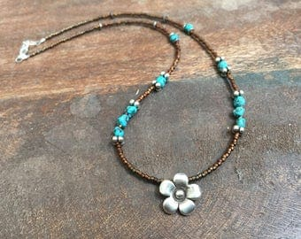Charm Necklace, Flower Necklace, Silver Necklace, Turquoise Necklace, Seed Bead Necklace, Karen Hill Tribe Flower