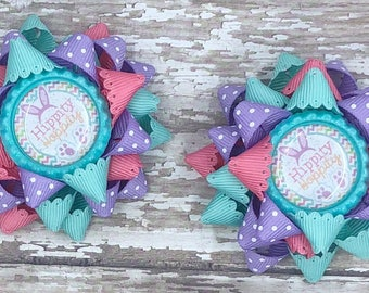 Easter Hair Bows, Easter Hairbows, Easter Hair Clip, Easter Bow, Loopy Hair Bow, Pink Easter Bow, Purple Easter Bow, Girls Hair Bows