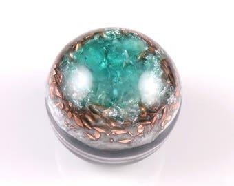 Apatite Orgonite® Sphere .. Orgone Generator with Tibetan Crystal, Phenacite, Petalite, Kunzite, Selenite, Rhodizite, Tourmaline, Shungite