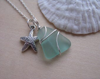 Teal Green Sea Glass with tiny Starfish Bridesmaid Necklace Beach Glass Jewelry Aqua Blue Sea Glass Jewelry