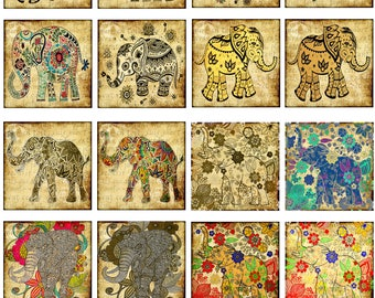 Elephant, Pacaderm, Africa, Good Luck, Circus Animal, 1 & 2 Inch Squares, Instant Download, 16 Different Images (17-4)