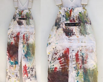 Paint Splattered White Colorful Dickies Cotton Overalls 36 x 32