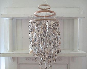 Nautical Oyster Shell Chandelier, Three Tier, Large