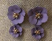 Purple earrings, purple flower earrings, lavender earrings, flower earrings, dangle earrings, crew, jcrew earrings, earrings