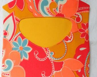 Vintage Polyester Neon Orange Clothespin Holder - Retro Modern Clothes Pin Holder - Retro Clothes Pin Bag - Made to Order