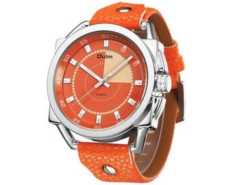 Unisex Orange Analog Quartz Wrist Watch, Stylish Dress Casual Unique Lady Wristwatch with PU Leather Band Luminous Hands Water Resistant