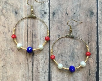July fourth beaded earrings, Fourth of July earrings, patriotic earrings, americans earrings