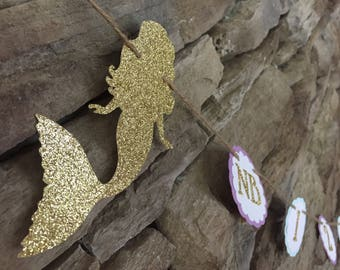 Mermaid monthly photo banner, mermaid first birthday banner, lavender aqua and gold banner