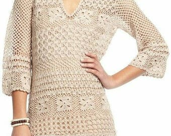 Crocheted Tunic w/3/4 Sleeves - Made to Order