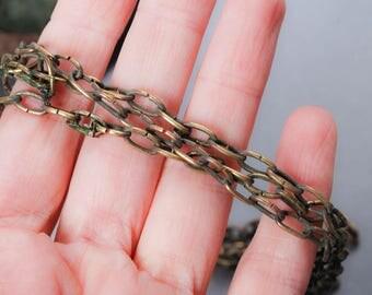 Antique metal brass chain, dark patina 160 cm